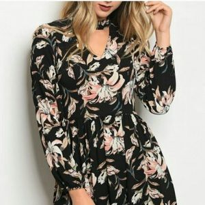 Black floral dress with choker